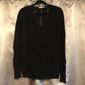 Helmut Lang Black Wool Distressed Sweater Size Sm